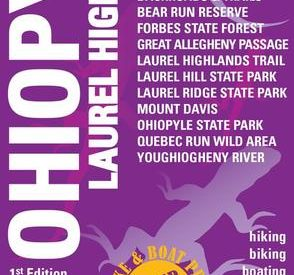 Purple, rectangular map jacket with the words Ohiopyle, Laurel Highlands