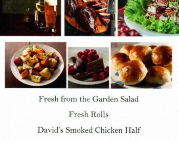 Smoked Chicken, Salad, Beverages, Roasted Potatoes, Fresh Rolls, Lava Cake