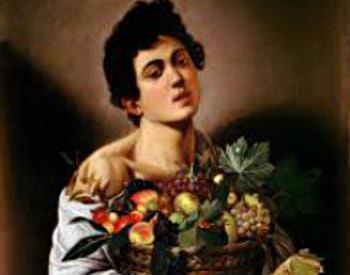 Renaissance styled painting of a woman in a white dress holding a basket of fruit
