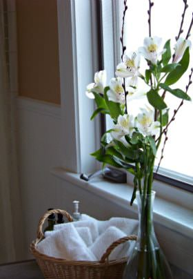 A glass vase holding beautiful white flowers sitting on a table next to a sunny window